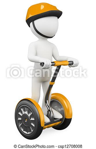 3D white people. Ecological alternative transportation - csp12708008