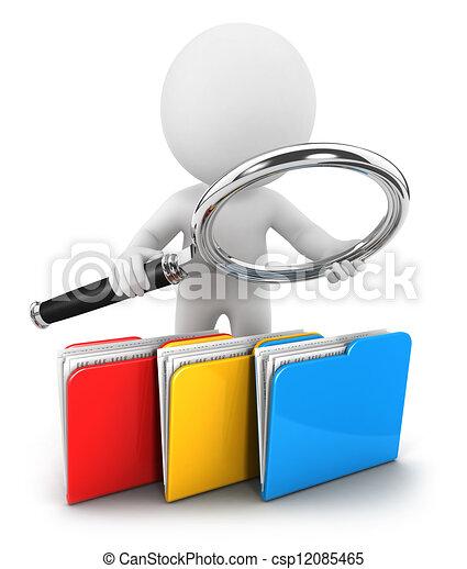 3d white people examines files - csp12085465
