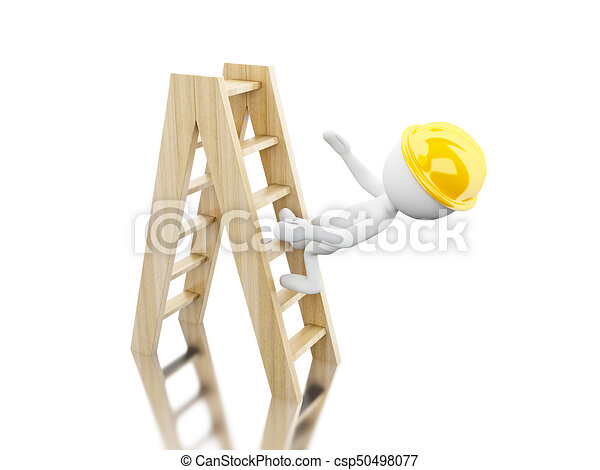 3d White people falling off a ladder - csp50498077