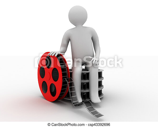3d white people. Film director with film reels. Isolated white background. - csp43392696