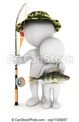3d white people fishing with son - csp11039257