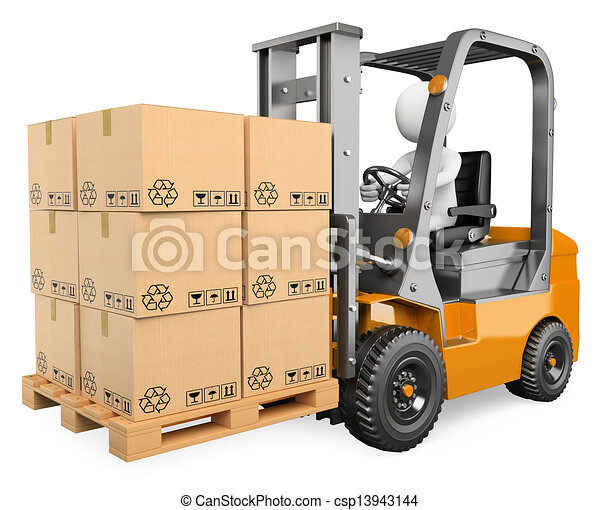 3D white people. Forklift with a pallet - csp13943144