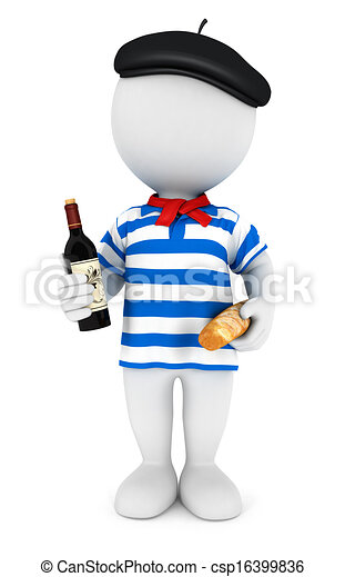 3d white people frenchman - csp16399836