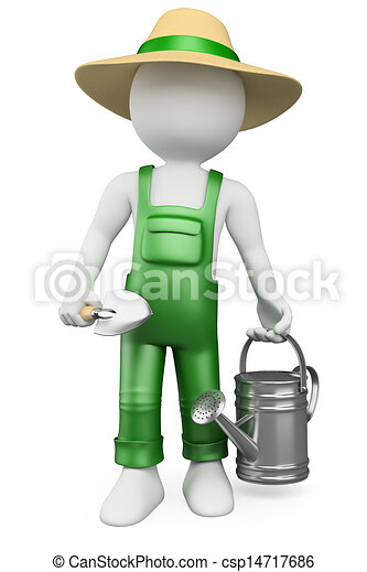 3D white people. Gardener - csp14717686