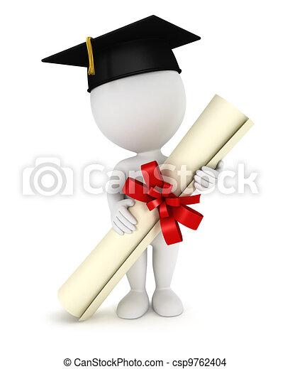 3d white people graduate - csp9762404