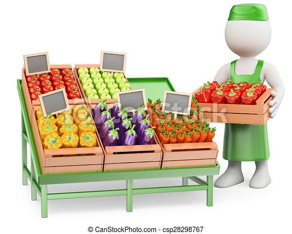 3D white people. Greengrocer - csp28298767