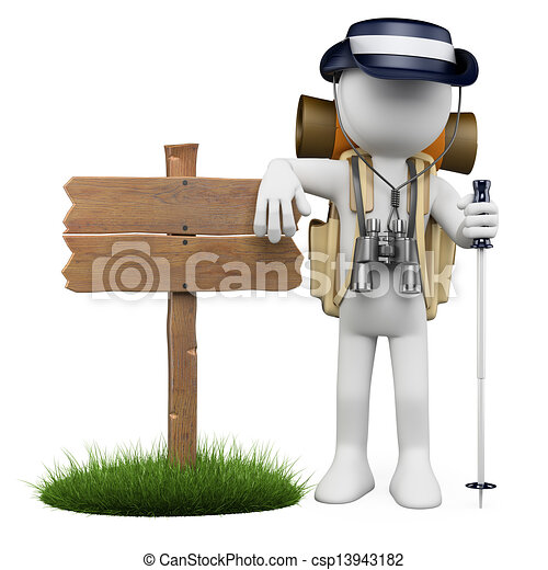 3D white people. Hiker with wooden sign - csp13943182