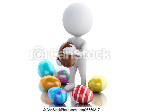 3d white people holds Easter egg in a hand. - csp25559217
