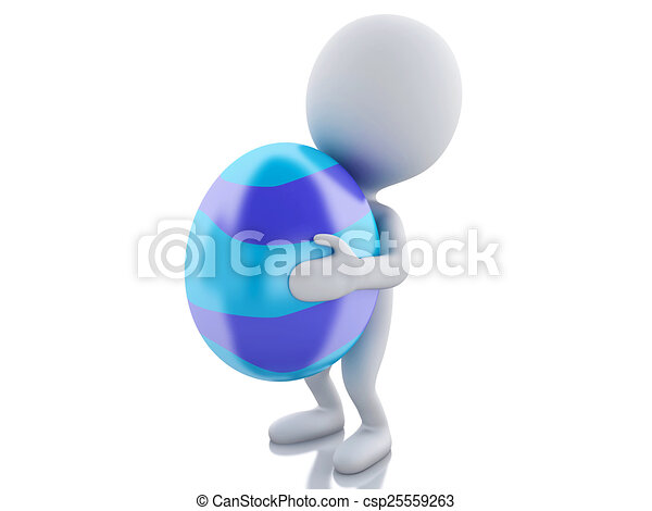 3d white people holds Easter egg in a hand. - csp25559263