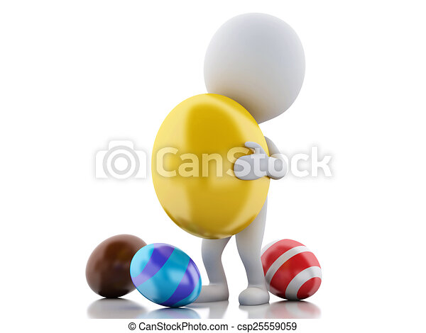 3d white people holds Easter egg in a hand. - csp25559059