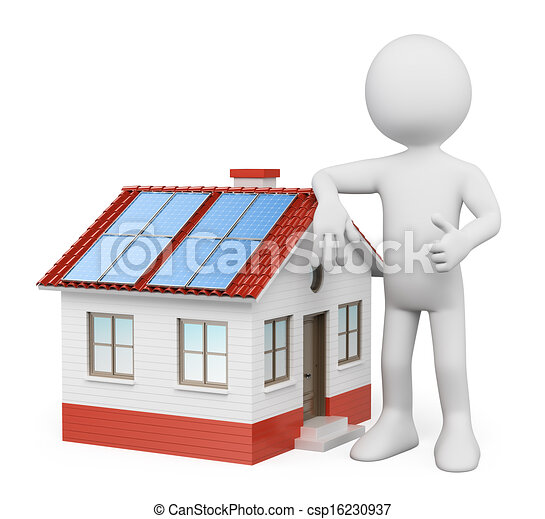 3D white people. House with solar panels - csp16230937