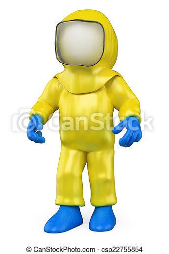 3D white people. Isolation suit. Biohazard - csp22755854
