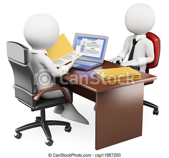 3D white people. Job interview - csp11887200
