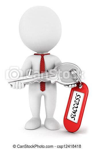 3d white people key to success - csp12418418