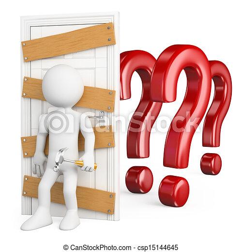 3D white people. Man closing the door to doubt - csp15144645