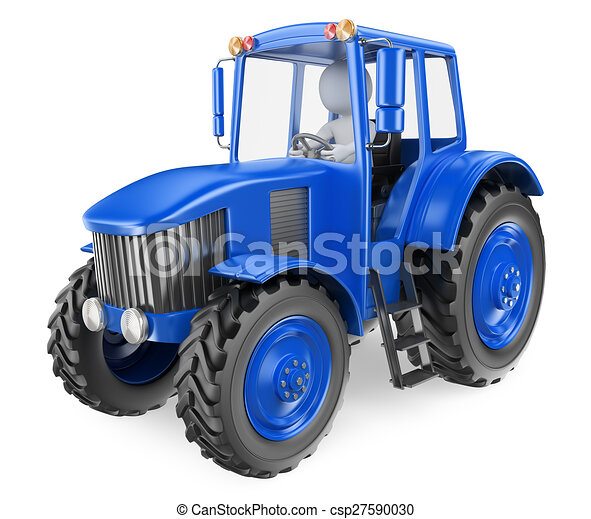 3D white people. Man driving a tractor - csp27590030