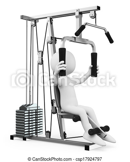 3D white people. Man exercising in a weight machine - csp17924797