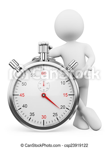 3D white people. Man with a stopwatch - csp23919122