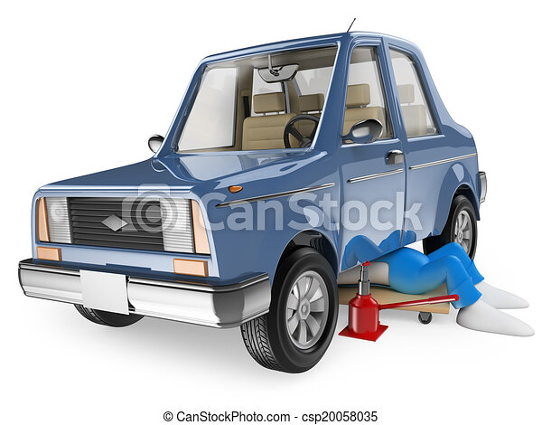 3D white people. Mechanic repairing a car - csp20058035
