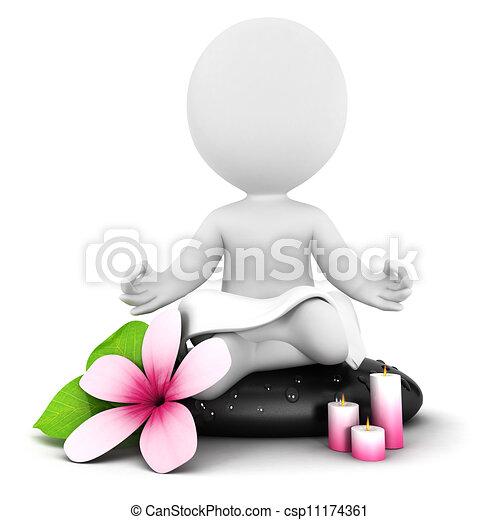 3d white people meditation - csp11174361