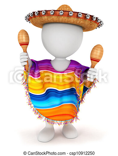 3d white people mexican - csp10912250
