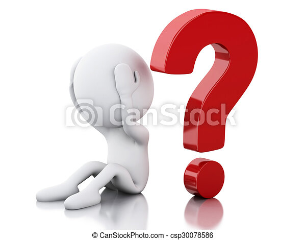 3d White people need help with question mark - csp30078586