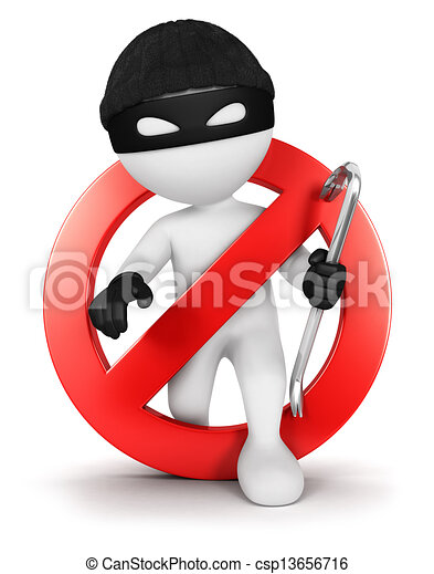 3d white people no thief - csp13656716