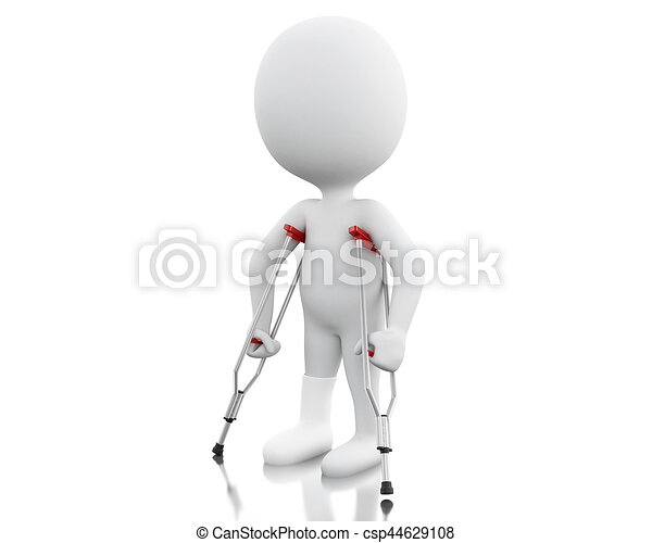 3d White people on crutches. - csp44629108