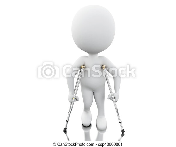3d White people on crutches. - csp48060861