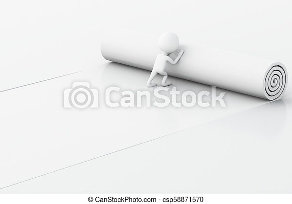 3d White people opening torn paper with space for text. - csp58871570