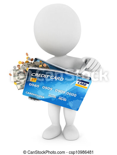 3d white people opens a credit card - csp10986481