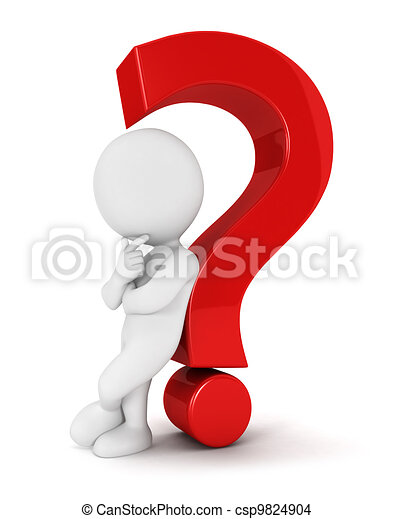 3d white people question mark - csp9824904