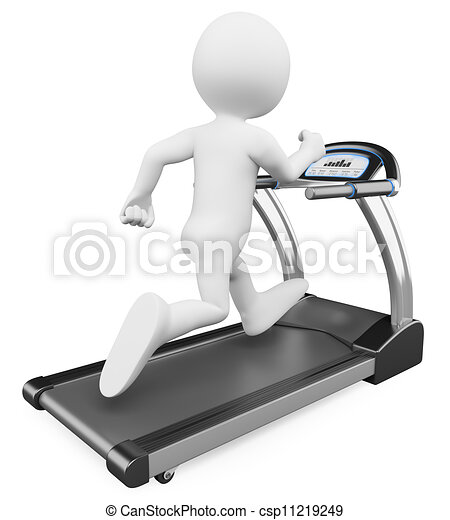 3D white people. Running on a treadmill - csp11219249