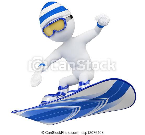 3D white people. Snowboard - csp12076403