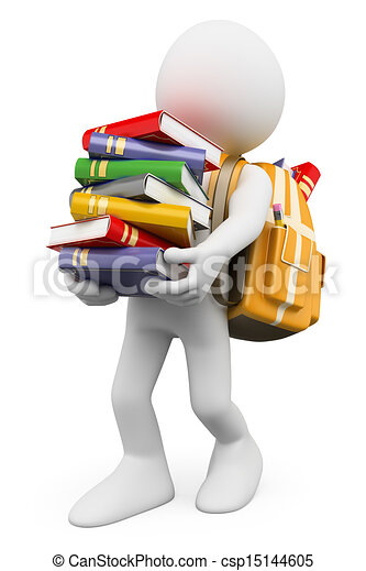 3D white people. Student carrying a stack of books - csp15144605