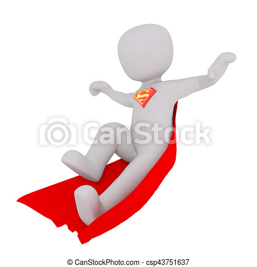 3D White People Superman flying - csp43751637