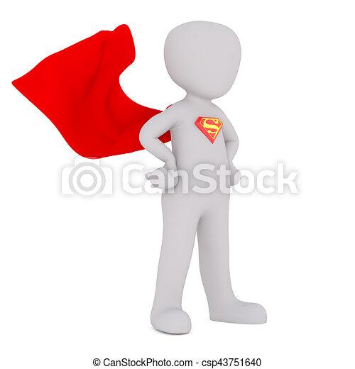 3D White People Superman waving cape - csp43751640