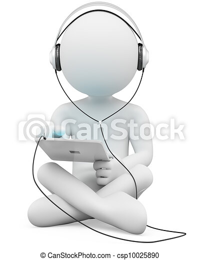3D white people. Tablet and headphones - csp10025890