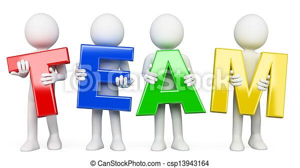 3D white people. Team - csp13943164