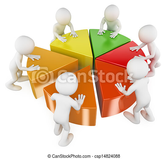 3D white people. Team with pie chart - csp14824088