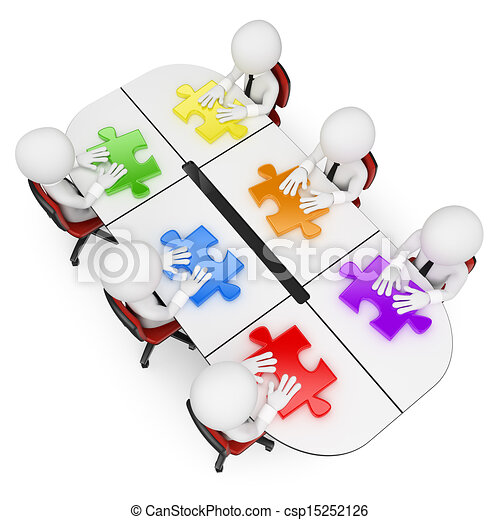 3D white people. Teamwork looking for the best solution - csp15252126