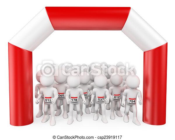3D white people. The start of a Marathon - csp23919117