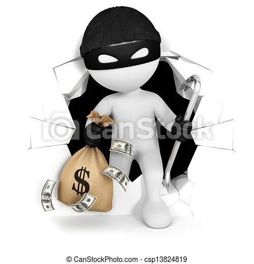 3d white people thief with money - csp13824819