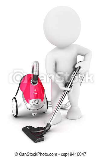 3d white people uses vacuum cleaner - csp19416047