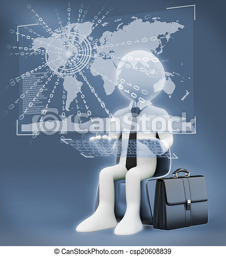 3D white people. Virtual global world business - csp20608839