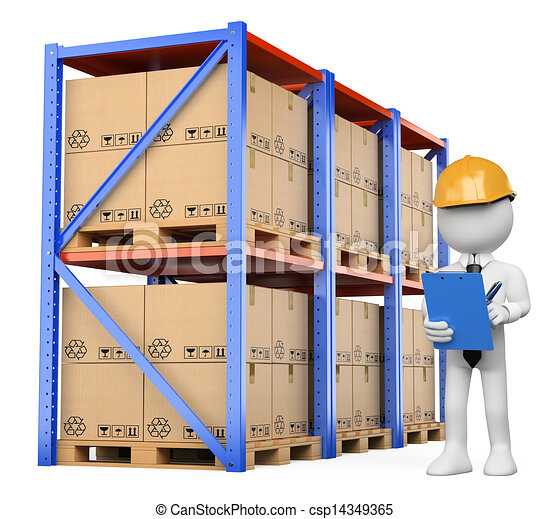 3d white people warehouse manager 3d white person checking the
