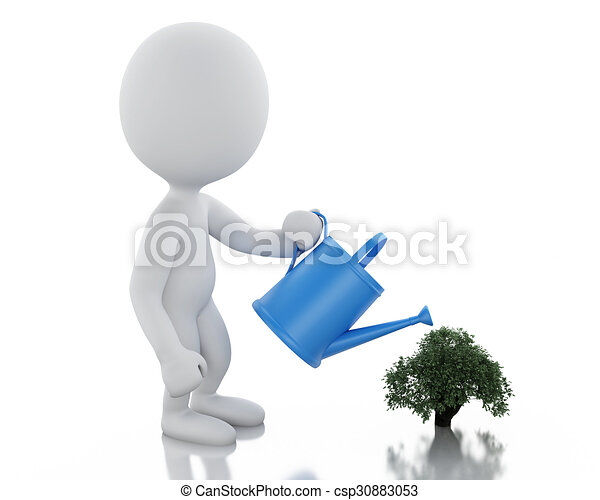 3d White people watering a small tree - csp30883053