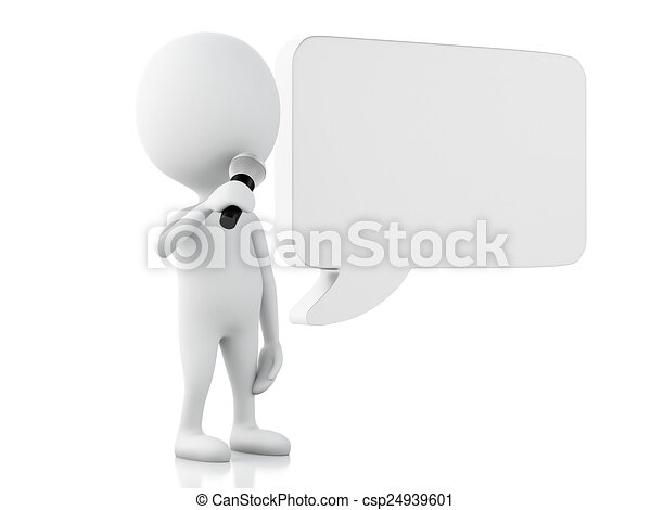 3d white people with a blank speech bubble. Communication concep - csp24939601