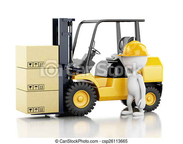 3d white people with a forklift and cardboard boxes  - csp26113665