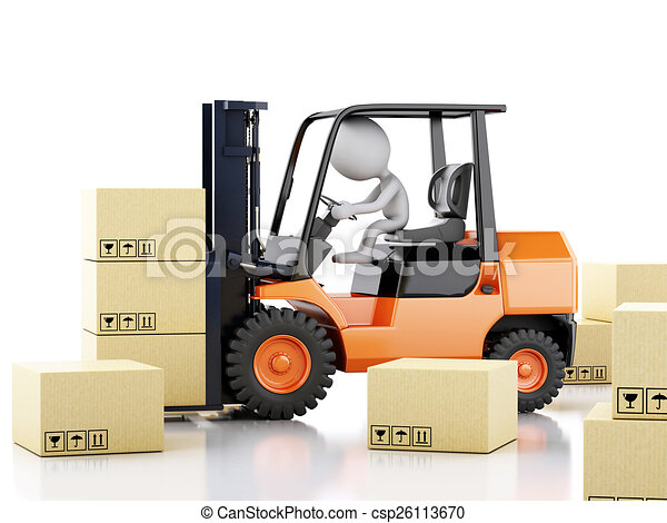3d white people with a forklift and cardboard boxes  - csp26113670